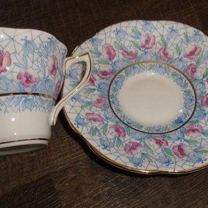 Rosina bone china teacup saucer blue pink flowers